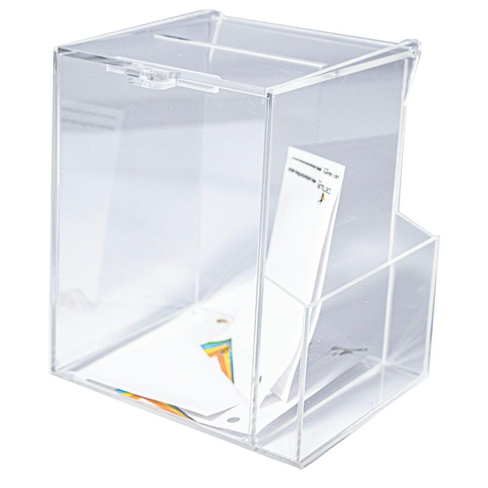 Urna com bolso lateral em Acrílico Transparente 15 x 15 x 20 cm