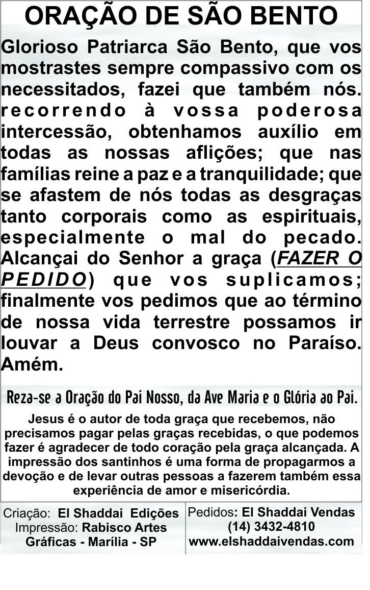 Santinhos da Oração da Medalha de São Bento - Milheiro  - Ruah Artigos Católicos
