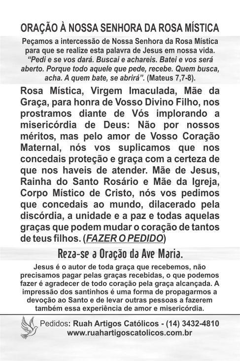Santinhos de Nossa Senhora da Rosa Mística - Milheiro  - Ruah Artigos Católicos