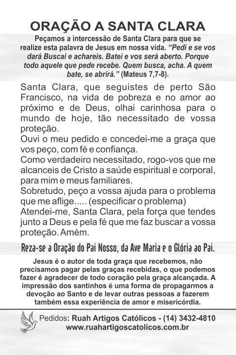 Santinhos de Santa Clara - Milheiro  - Ruah Artigos Católicos