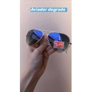 Oculos de Sol Aviador Dourado Azul Degrade Transparente Replica