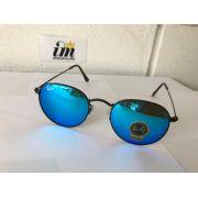 Óculos Rayban Round Metal Azul Espelhado Rb3447 Unissex