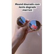 Oculos Sol Round Dourado Degrade Replica Primeira Linha