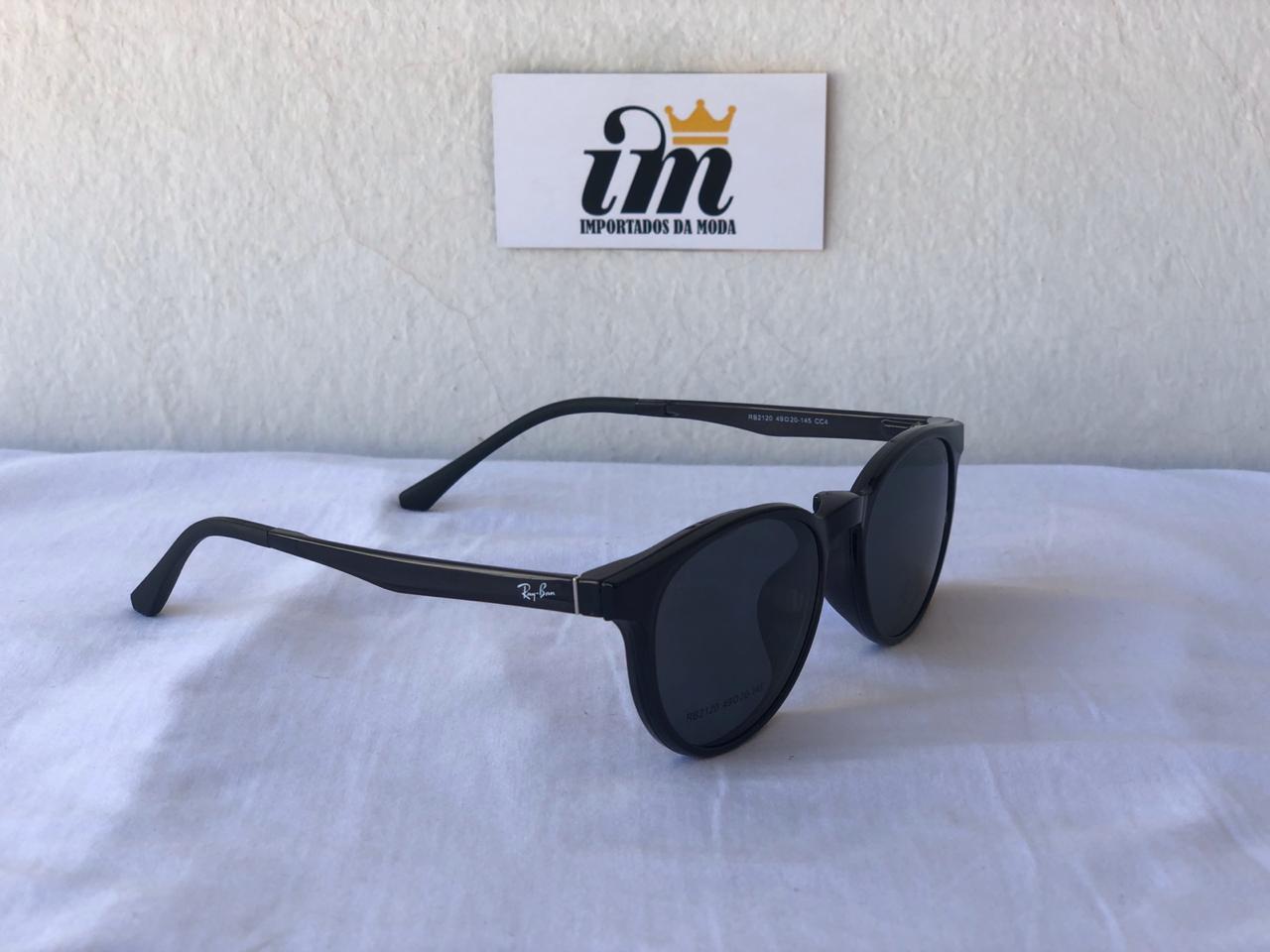 Armacao Solar e Grau Oculos Clip On Rb Preto Replica