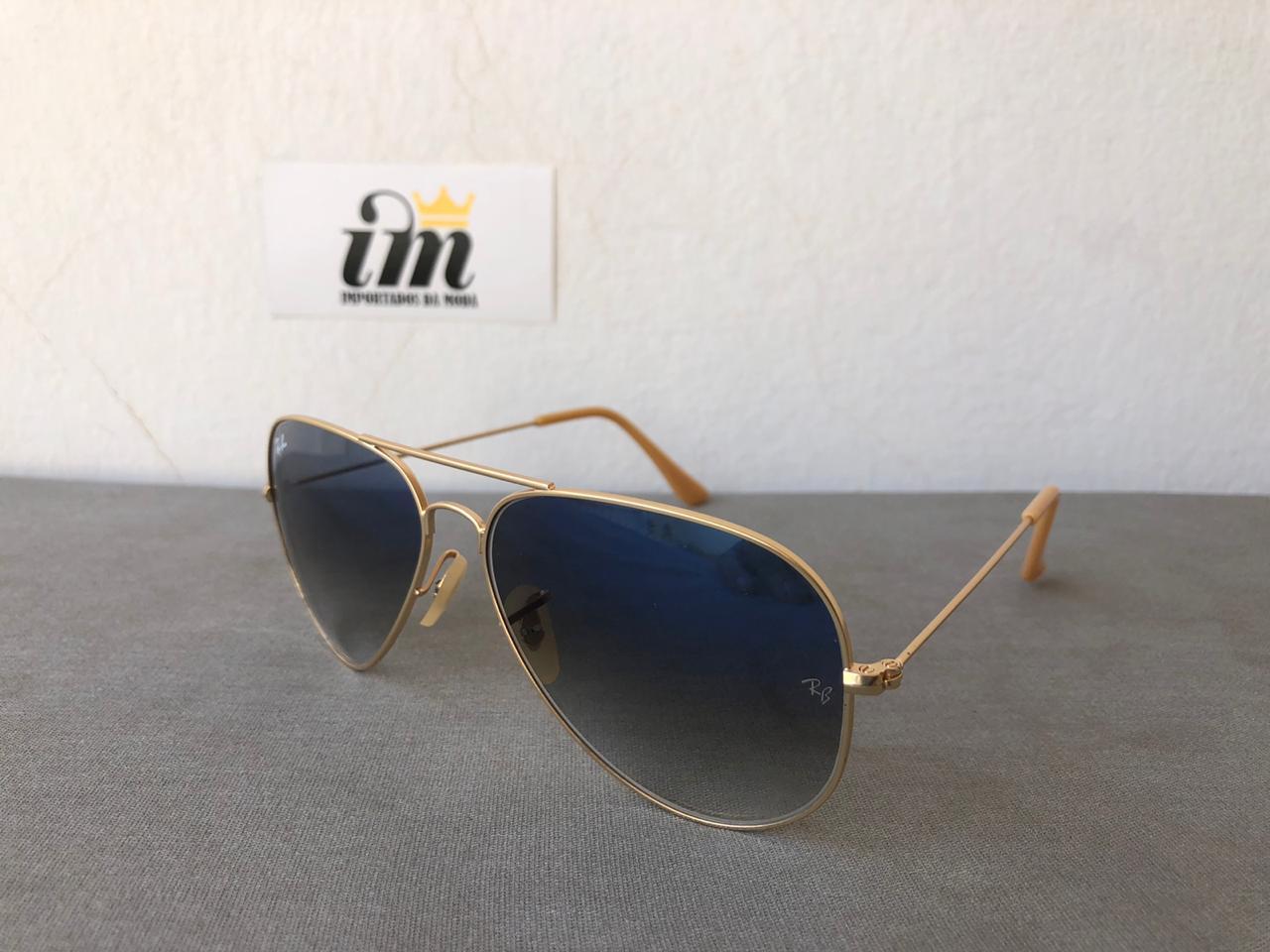 Oculos de Sol Aviador Dourado Azul Degrade Replica