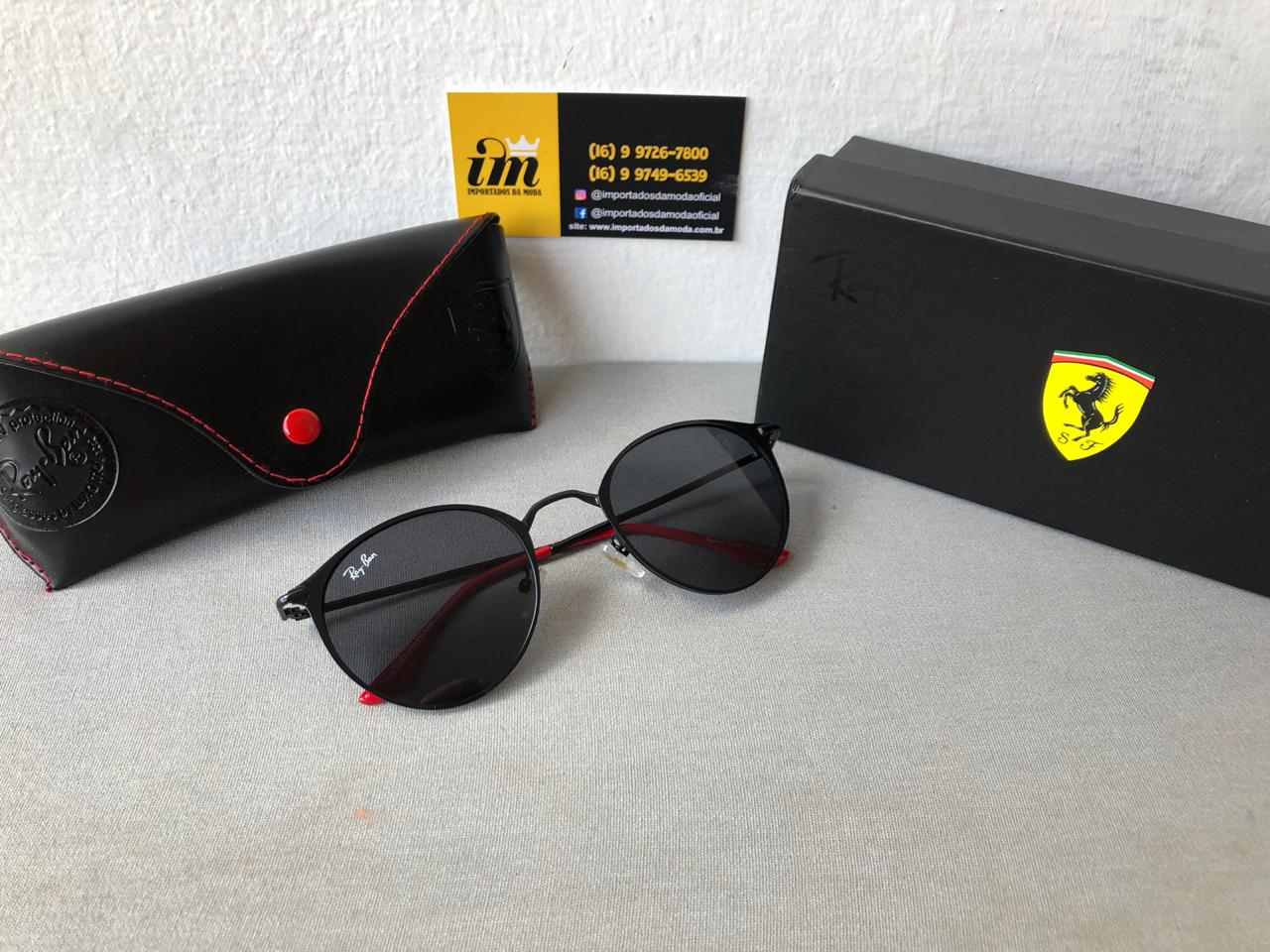 b1ca9bc1a Óculos de Sol Ray Ban Ferrari Réplica Primeira Linha
