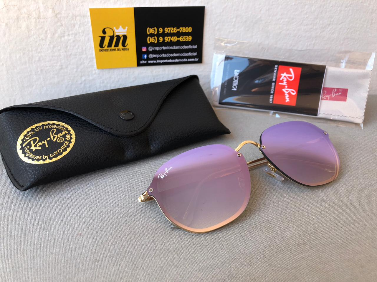 a81ed984856c3 Oculos De Sol Ray Ban Hexagonal Blaze Lilas Rb3579 Unissex