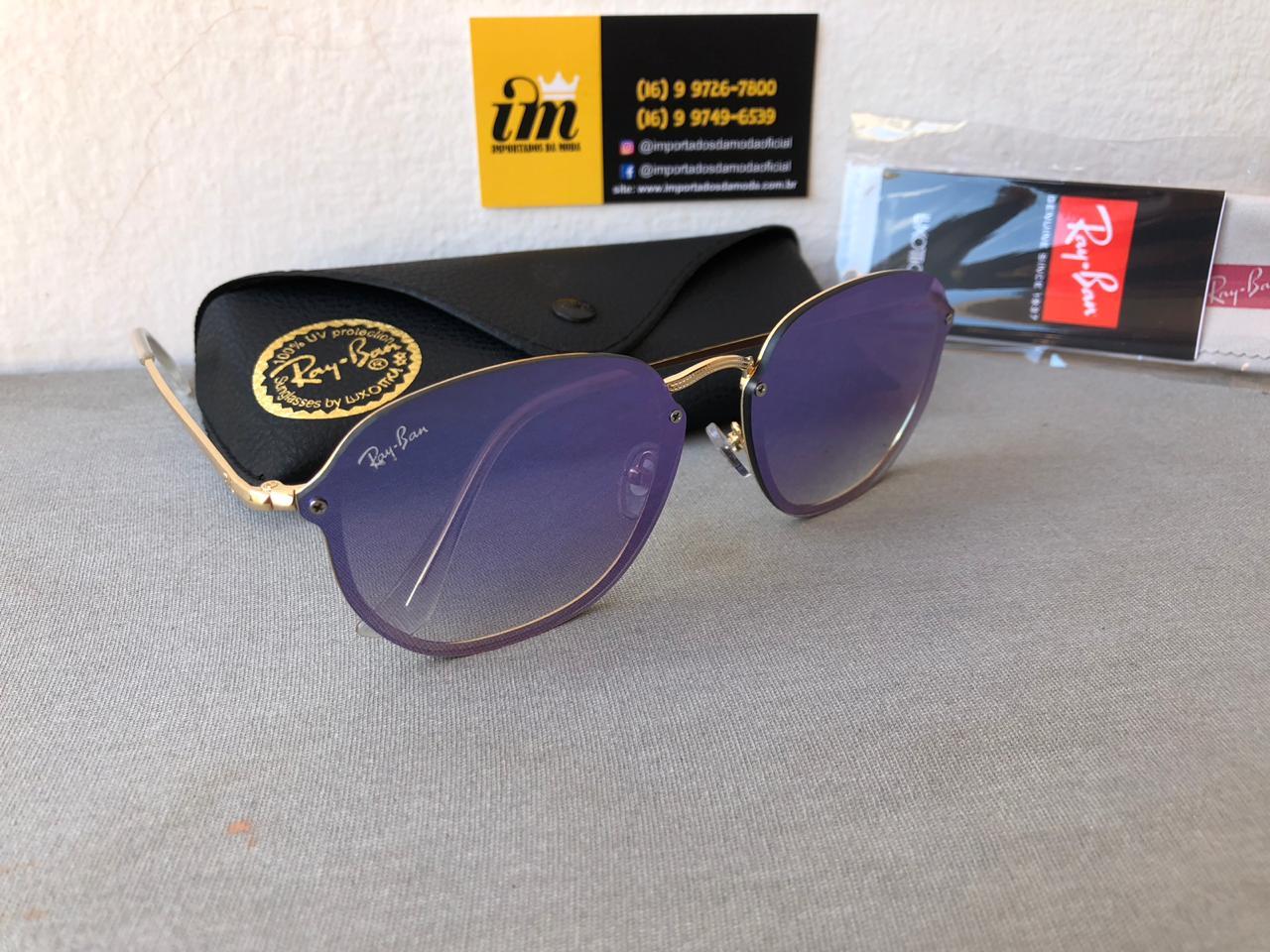 Oculos De Sol Ray Ban Hexagonal Blaze Lilas Rb3579 Unissex