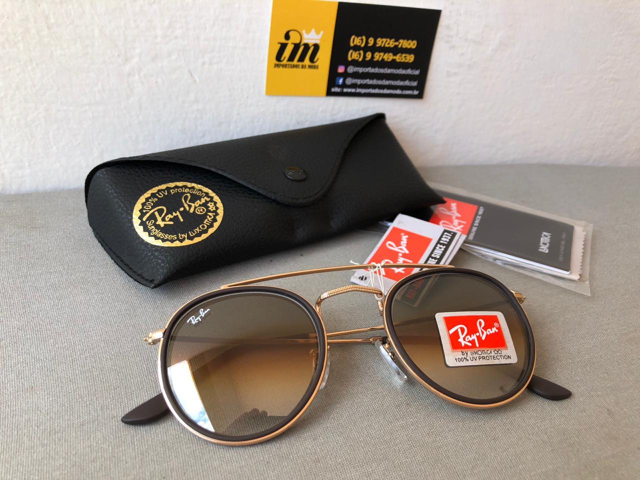 Oculos de Sol Ray Ban Round Double Bridge Degrade Rb3647