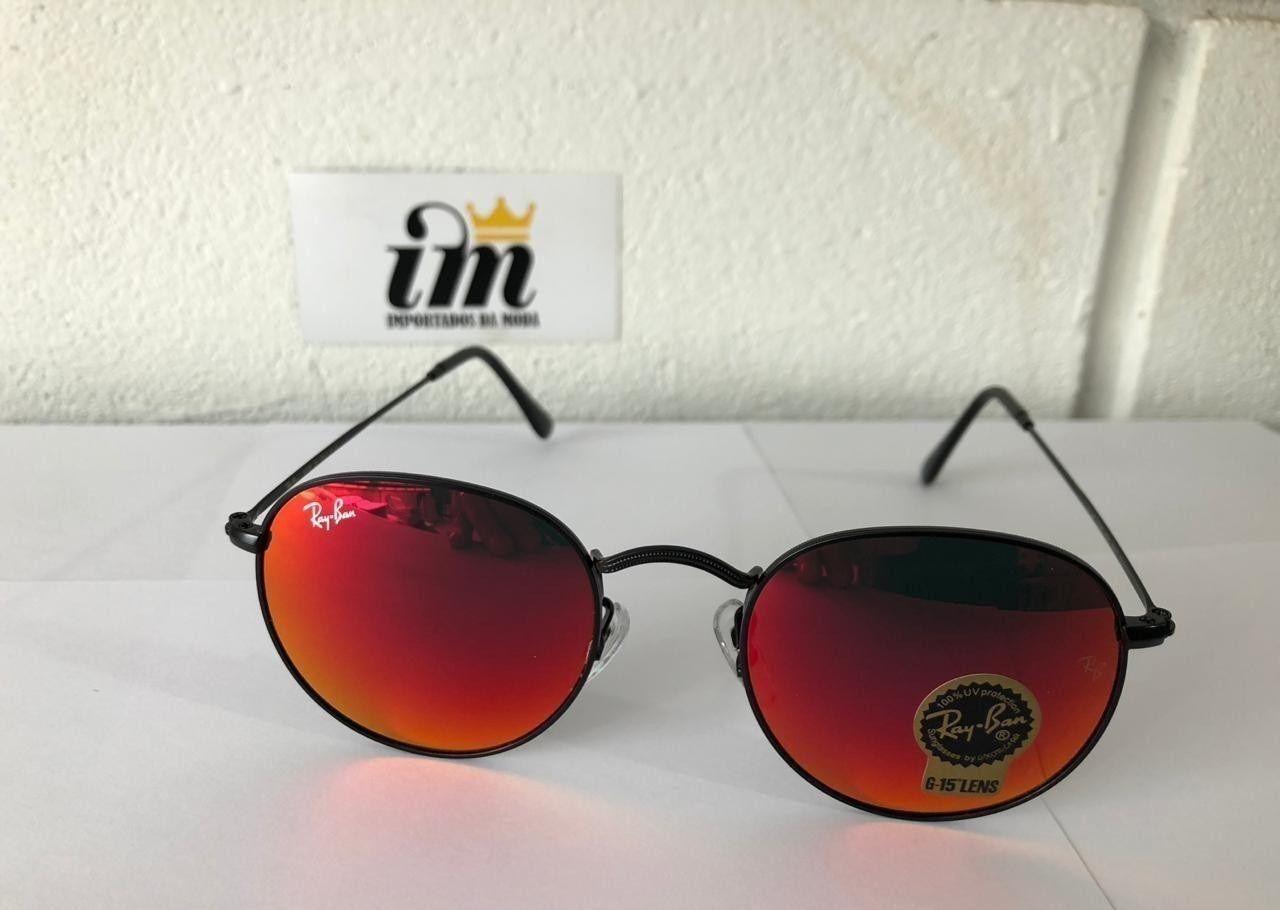 941993d09 Óculos de Sol Ray Ban Round Vermelho Replica Primeira Linha