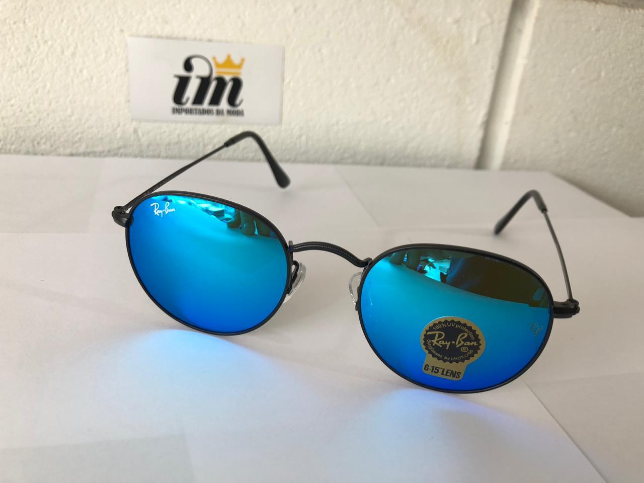 294f0d4492fe1 Óculos de Sol Ray Ban Round Azul Replica Primeira Linha