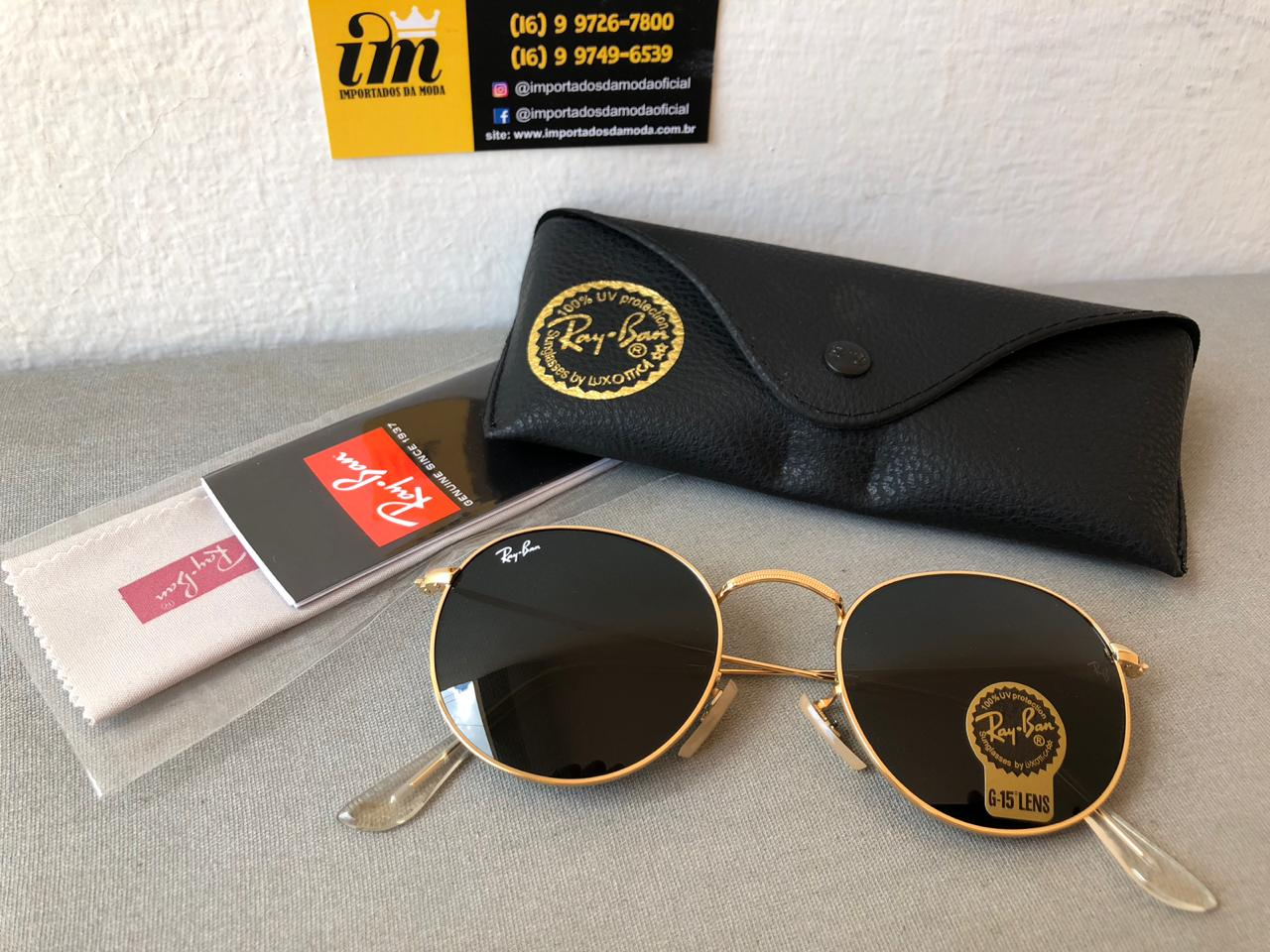 735f679db0 Ray Ban Round Dourado Preto Replica Primeira Linha Premium