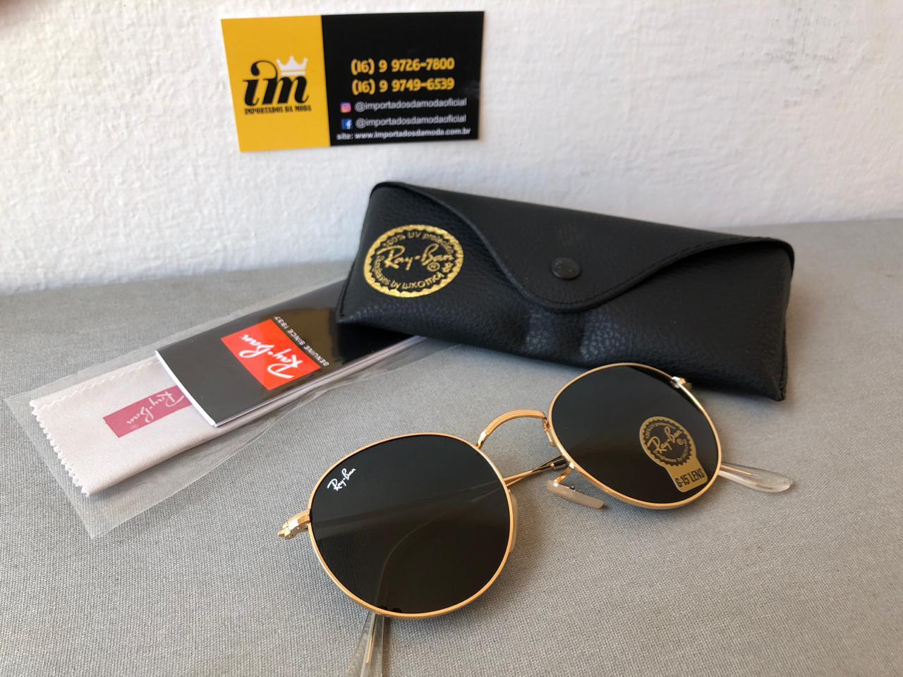 Ray Ban Round Dourado Preto Replica Primeira Linha Premium