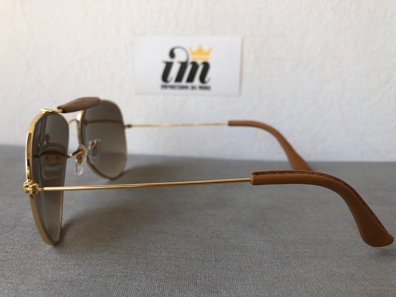 Oculos Sol Aviador Cacador Marrom Degrade Replica