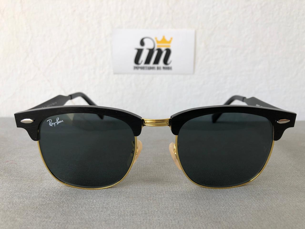Oculos Sol Clubmaster Aluminio Dourado Preto Replica