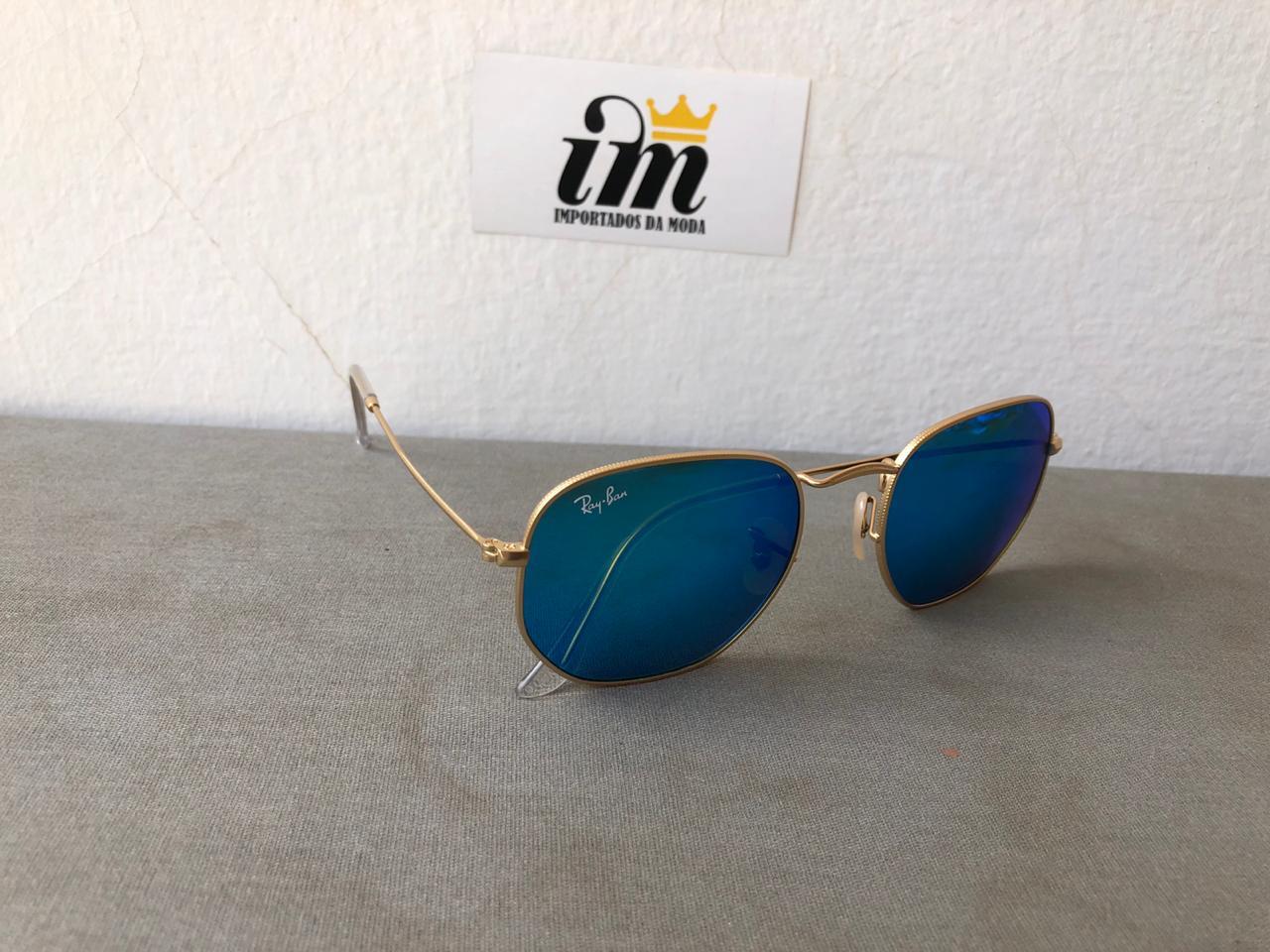 Oculos Sol Hexagonal Dourado Azul Replica Primeira Linha