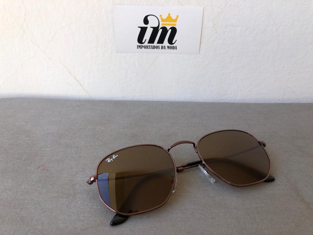 Oculos Sol Hexagonal Marrom Inteiro Replica