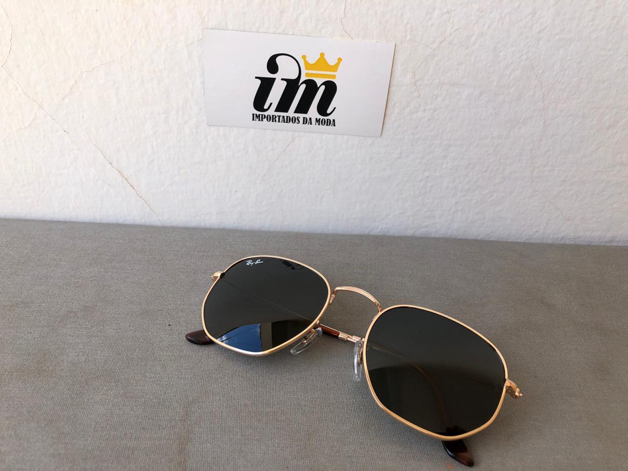 Oculos Sol Hexagonal Preto e Dourado Replica Primeira Linha