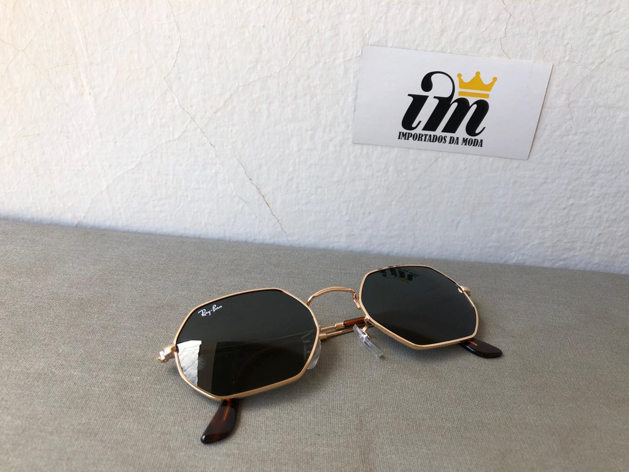 Oculos Sol Octagonal Preto Dourado Replica