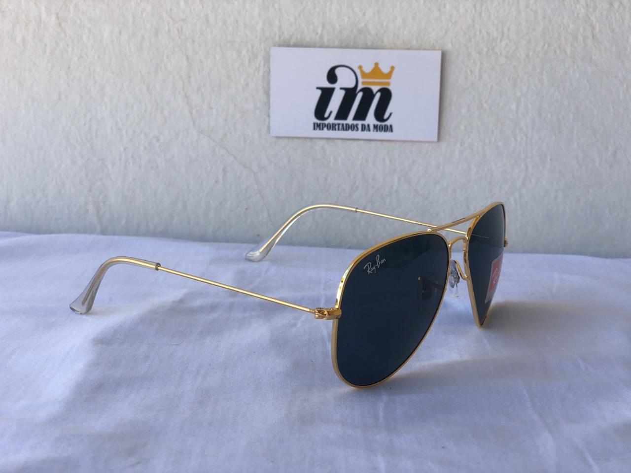 Oculos Sol RB Aviador Dourado Preto Replica
