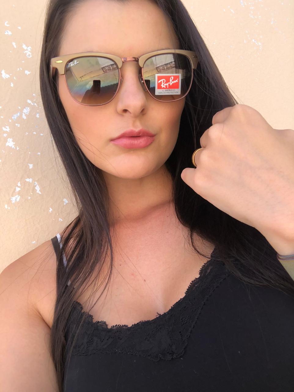 Oculos Sol RB Clubmaster Acetato Marrom Degrade Replica
