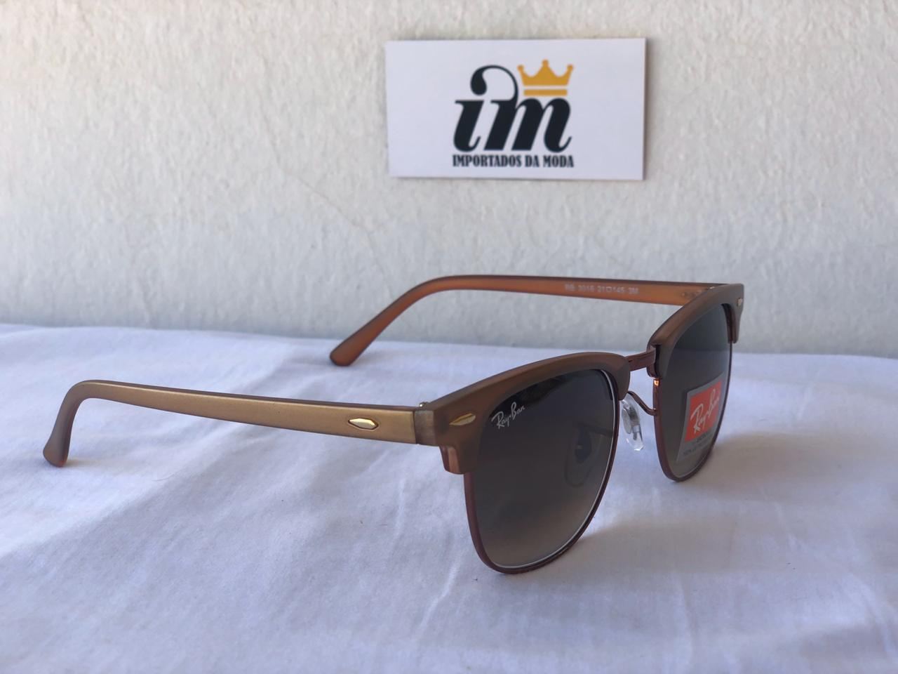 Oculos Sol RB Clubmaster Acetato Marrom Degrade Replica