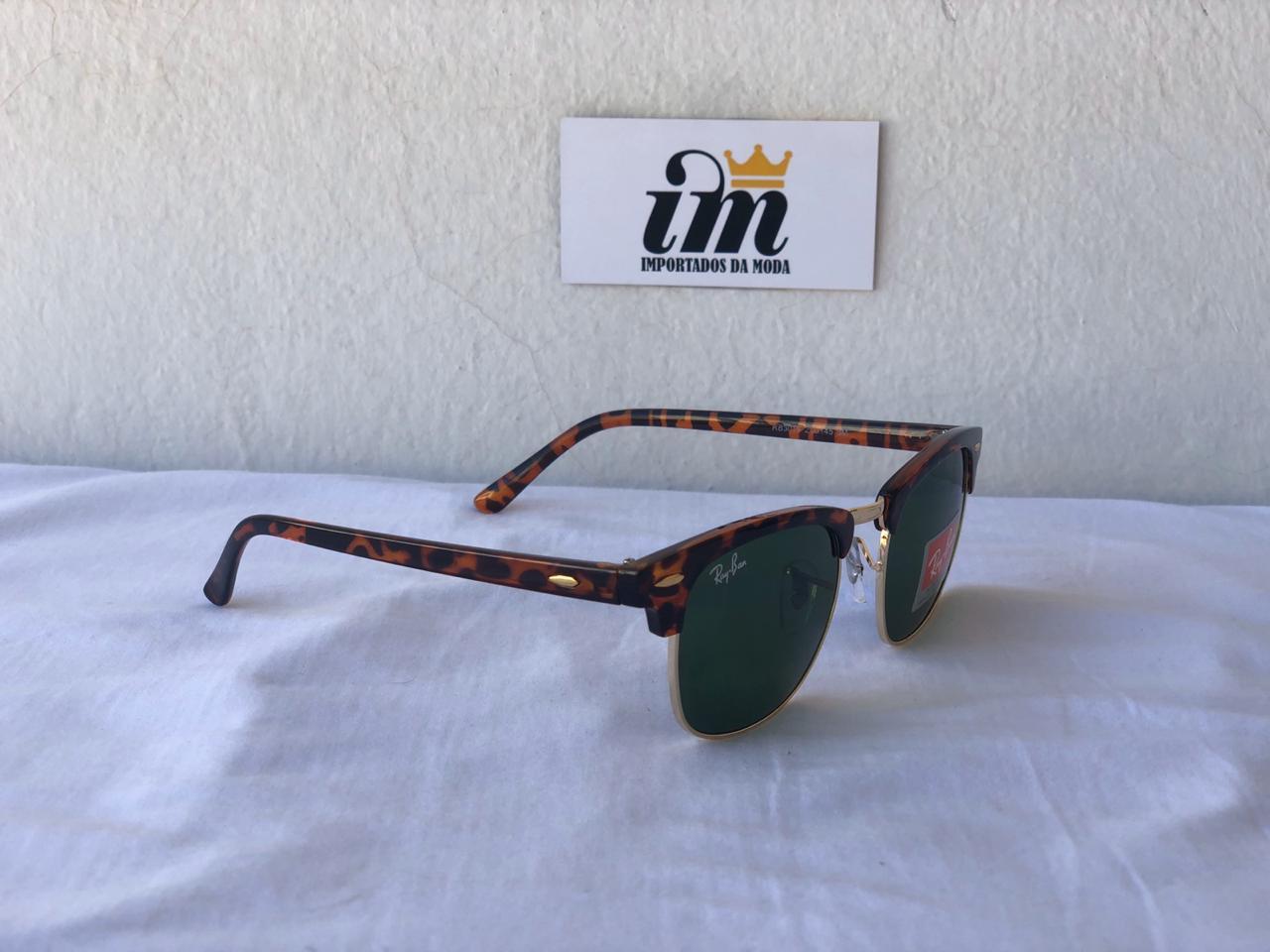 Oculos Sol RB Clubmaster Acetato Tartaruga Verde