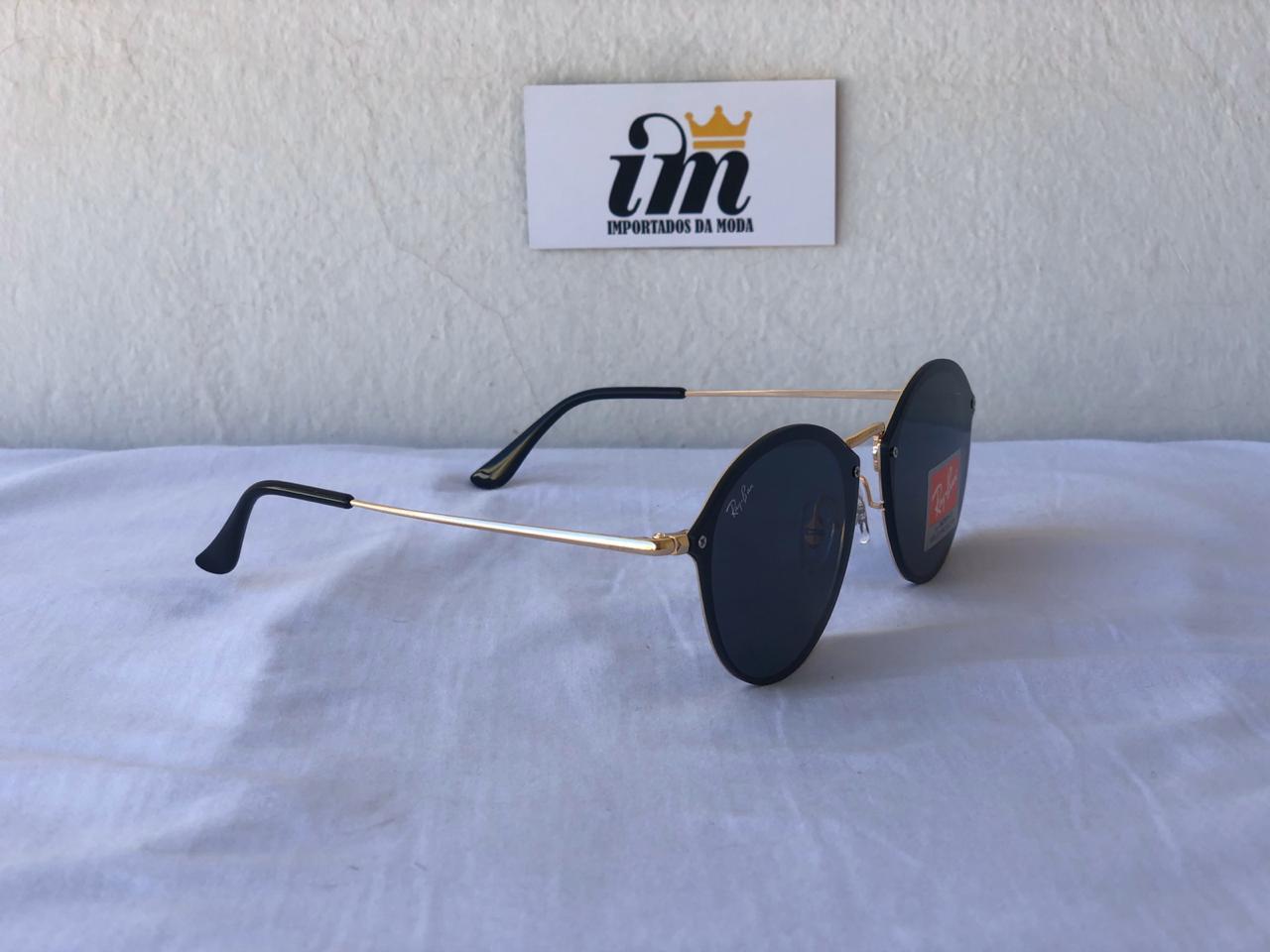 Oculos Sol RB Round Blaze Dourado Preto