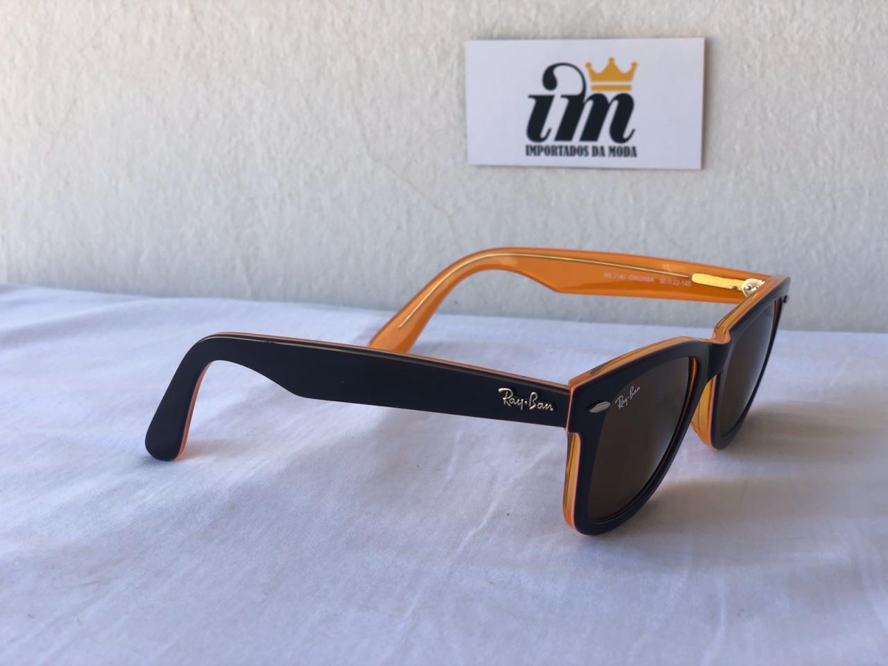 Oculos Sol RB Wayfarer Laranja Preto Replica