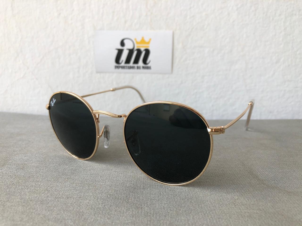 Oculos Sol Round Dourado Preto Replica Primeira Linha