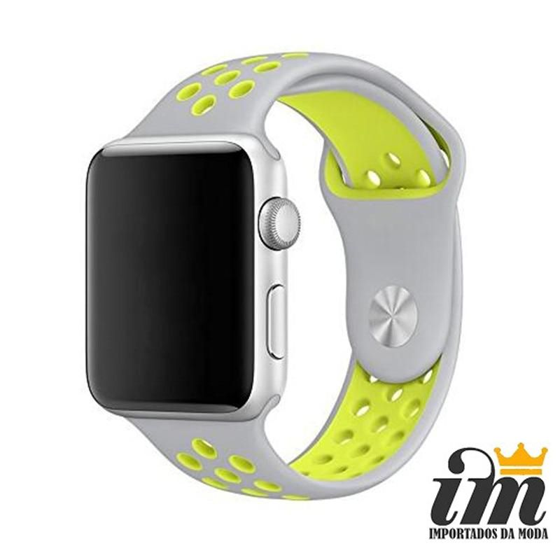 Pulseira Apple Watch 38 mm Nike Cinza Verde