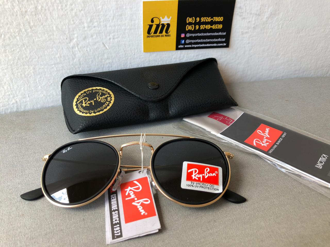 86ea9ea87f Ray Ban Round Double Bridge Dourado Preto Rb3647