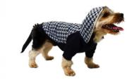 Blusa Futon Dog Tricot com Capuz Pele de Alpaca Houndstooth Azul