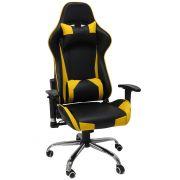 Cadeira Pro Gamer C/ Ajuste e Encosto Amarela Acabamento em Couro Metal Reforçado
