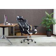 Cadeira Pro Gamer C/ Ajuste e Encosto Branco Acabamento em Couro Metal Reforçado