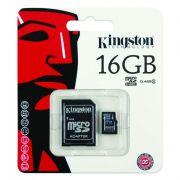Cartão de Memória Kingston MicroSDHC Card 16GB + 1 Adaptador Class SDC4/16GB