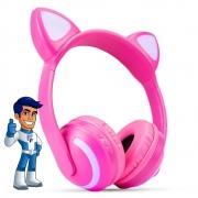 Headphone Bluetooth Orelhas Gatinho Led HF-C240BT Rosa Exbom
