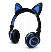 HEADPHONE ORELHA DE GATO COM LED PTO/AZUL - HF-C22