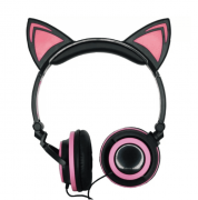 HEADPHONE ORELHA DE GATO COM LED ROSA/PTO EXBOM - HF-C22
