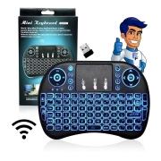 Mini Teclado Mouse Led Touchpad Wireless Sem Fio Pc/Tv/Gamer