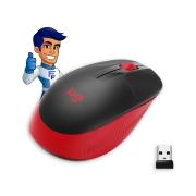 Mouse s/ fio Logitech M190 preto c/ vermelho