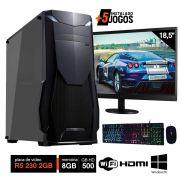 Pc Gamer Completo Intel 8GB HD 500GB R5 230 2GB Wifi Hdmi Win10 c/ 2 Monitores