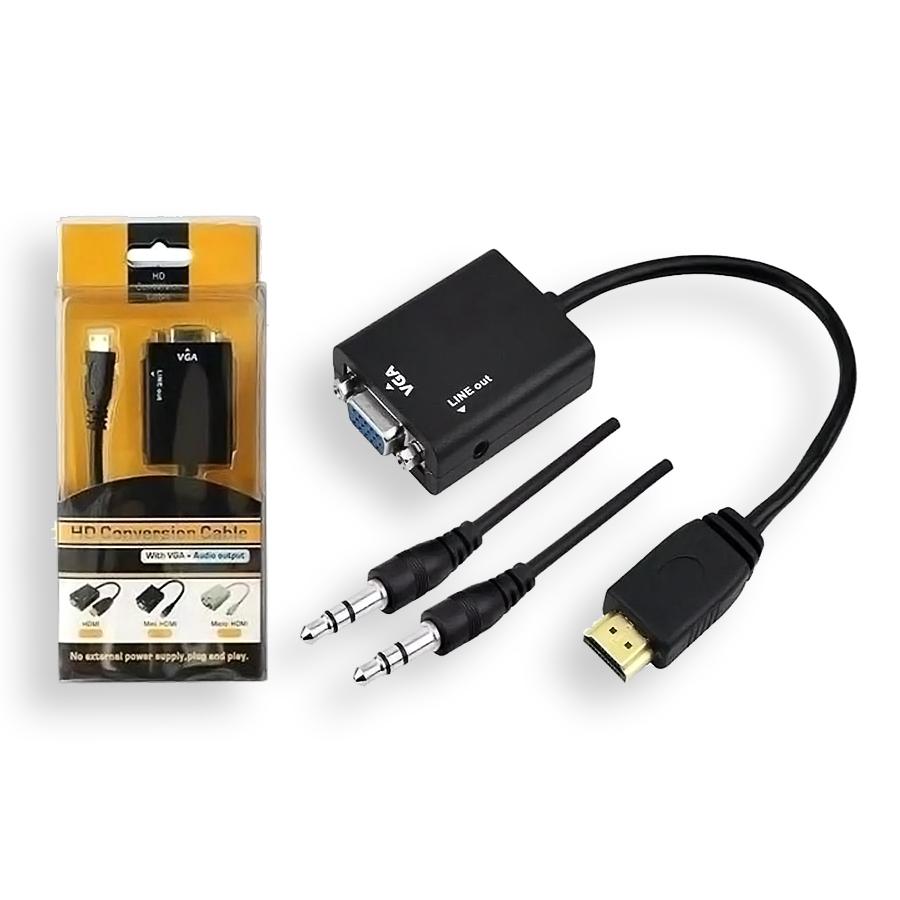 Cabo Conversor Adaptador Hdmi Para Vga Saida Audio P2