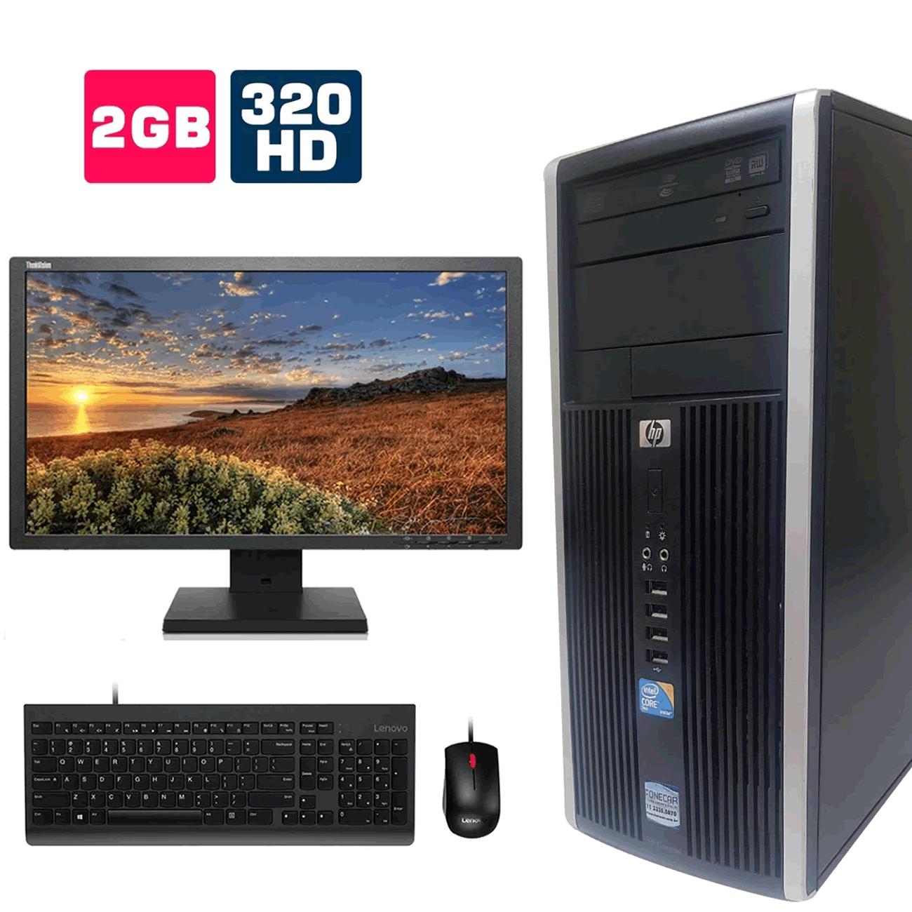 Computador Completo Hp Core 2 Duo 2GB HD 320GB Monitor