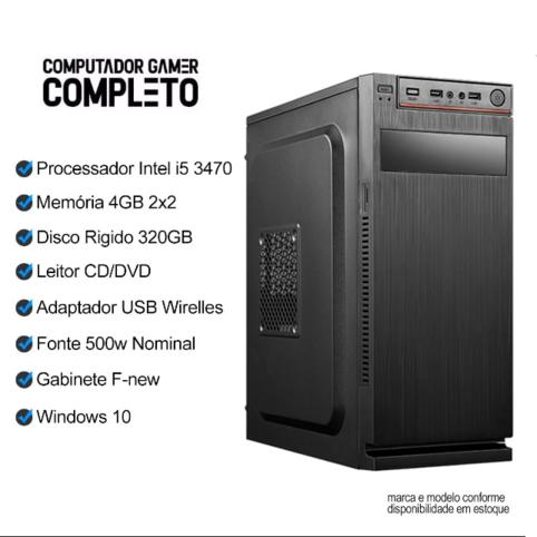 Computador Completo I5 3470 4GB HD 500GB c/ Monitor Wifi Win10