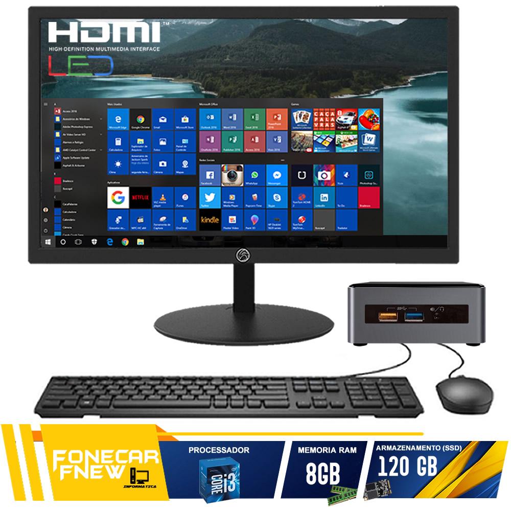 Computador Completo Mini Cpu Nuc Intel Core I3 8gb Ssd 120gb