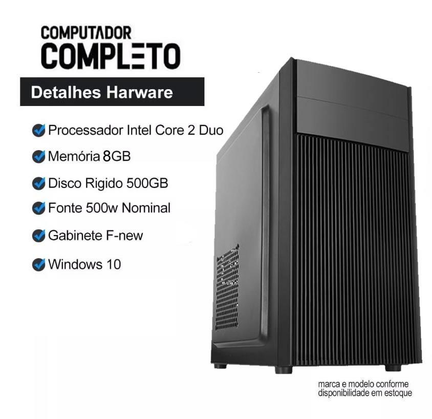 Computador Cpu Intel Core 2 Duo 8gb HD 500gb Teclado Mouse