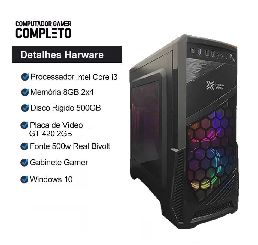 Cpu Gamer Intel Core i3 8gb HD 500 Placa de Video Monitor Hdmi