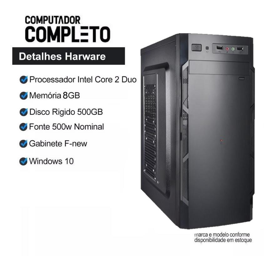 Cpu Intel Core 2 Duo 8gb HD 500gb Teclado Mouse