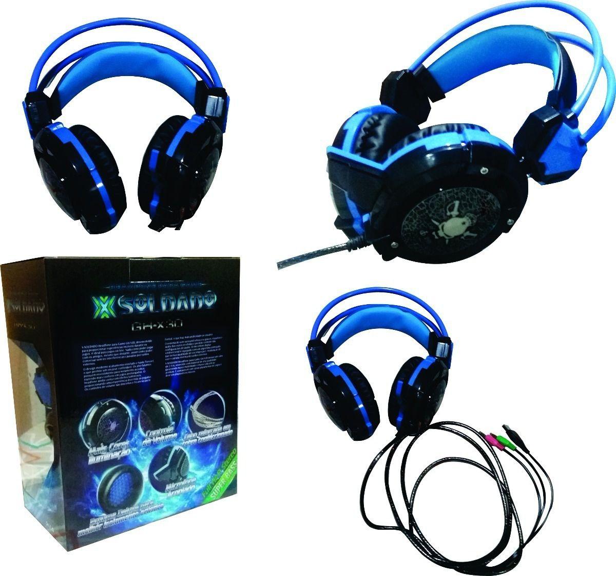 Fone de Ouvido Headset Gamer Luz Led Colorido c/ Cabo Reforçado - (GH-X30)